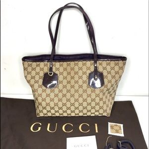 Authentic Gucci tote brown monogram canvas